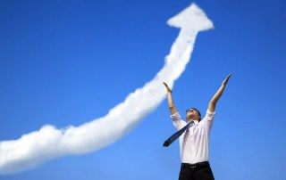 business man cloud arrow growth pointing to sky
